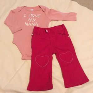 2/$15 Girls Red Jeans & Long Sleeve top love nana